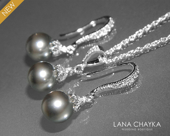 Wedding - Grey Pearl Earrings and Necklace Set STERLING SILVER Cz Grey Drop Pearl Set Swarovski 8mm Pearl Necklace&Earrings Set Wedding Pearl Jewelry