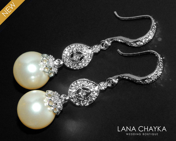 Wedding - Bridal Chandelier Pearl Earrings Swarovski 10mm Pearl Earrings Ivory Pearl Bridal Earrings Wedding Pearl Earrings Bridal CZ Pearl Earrings