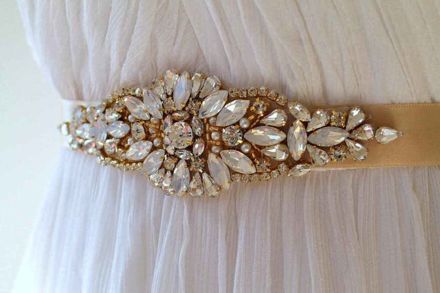 Mariage - Gold Opal Crystal Bridal Sash. Rhinestone Pearl Applique Wedding Belt. Gold Art Deco Wedding Sash.  DAISY