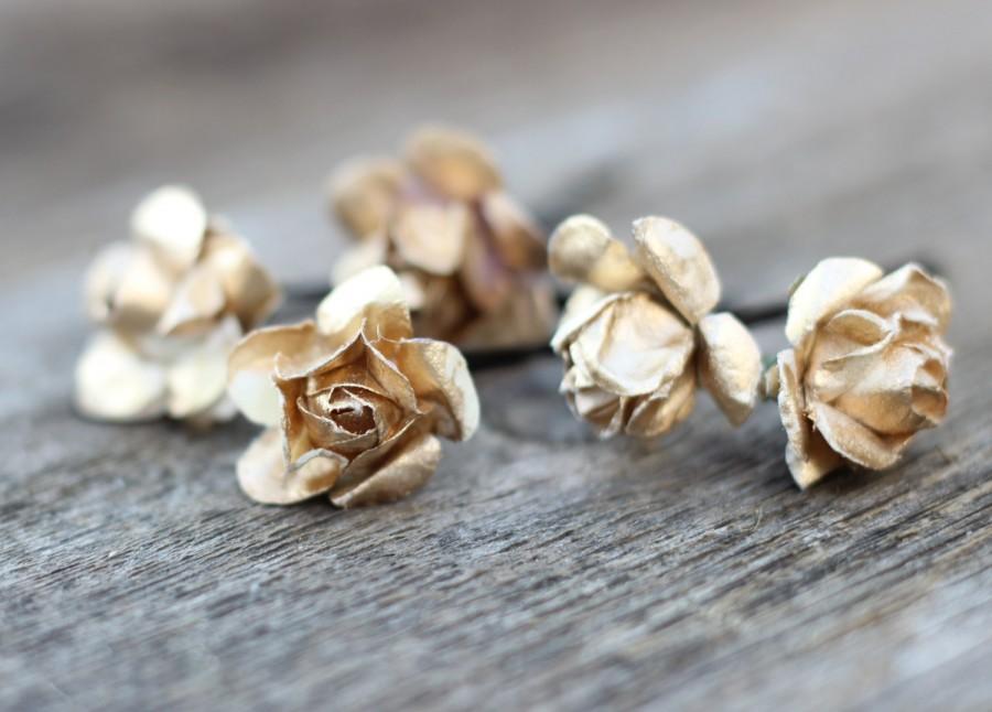 Mariage - Gold Flower Hair Pins Bridal Gold Hair Bobby Pins Wedding Flower Crown Bobby Pins Silver Hair Picks Floral Bobby Pins Bridal Hair Bridesmaid