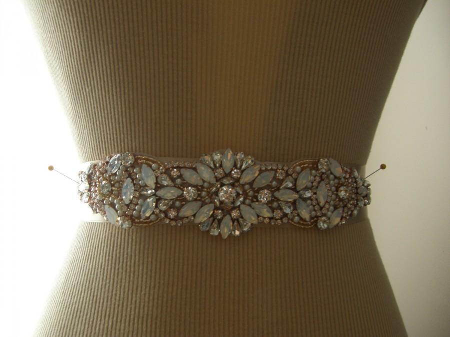 Mariage - Sale, Rose Gold Wedding Belt, Rosegold Wedding Sash, Bridal Belt, Bridesmaid Belt, Sash Belt, Rose Gold, Crystal Rhinestone, Pearl & Opal