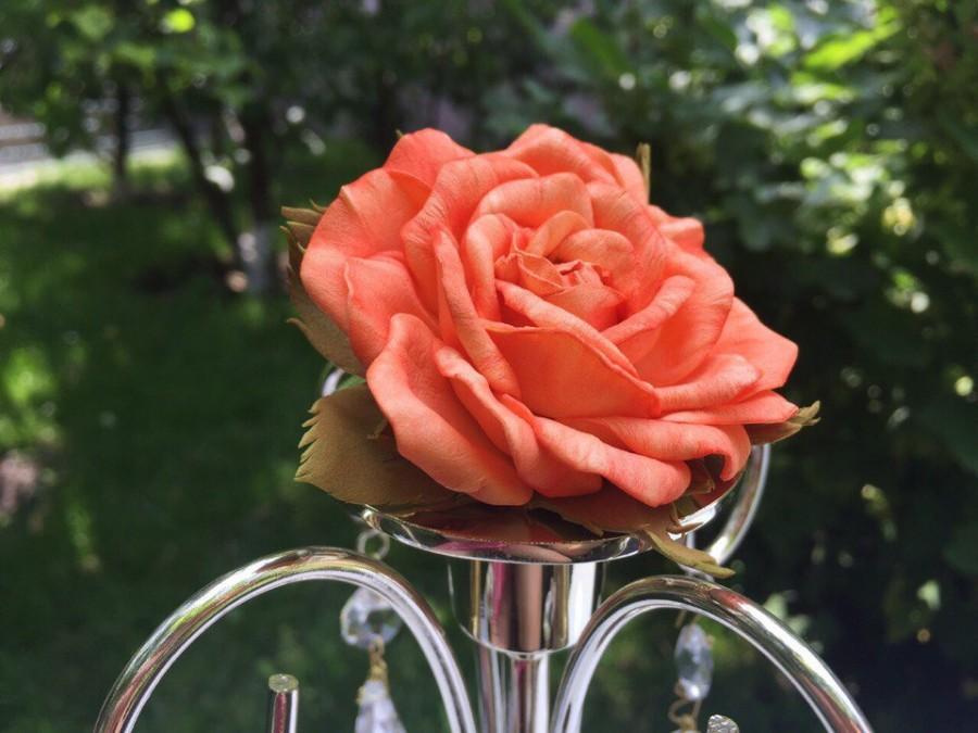 Mariage - Orange barrette Floral barrette Rose barrette Orange rose Rose in hair Floral headpiece Hair flower clip Orange hair flower Hair accessories