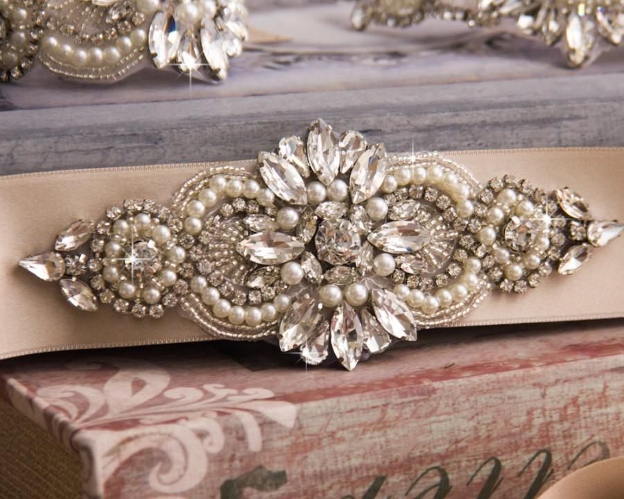 Mariage - Bridal sash, Silver Wedding Sash Belt, Wedding Sash, Bridal Sash Belt, Champagne Wedding Belt, Crystal bridal sash belt