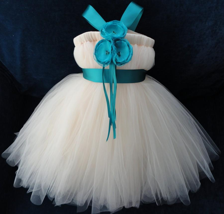 Hochzeit - Teal Flower Girl Dress, Little Girls, Toddler Girls, Baby Girls, Flowergirl Dress, Tutu Dress, Flower Sash