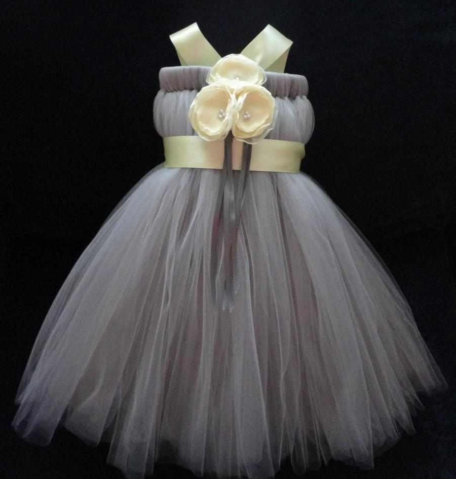 Wedding - Yellow and Gray Flower Girl Dress, Little Girls, Toddler Girls, Baby Girls, Flowergirl Dress, Tutu Dress, Flower Sash