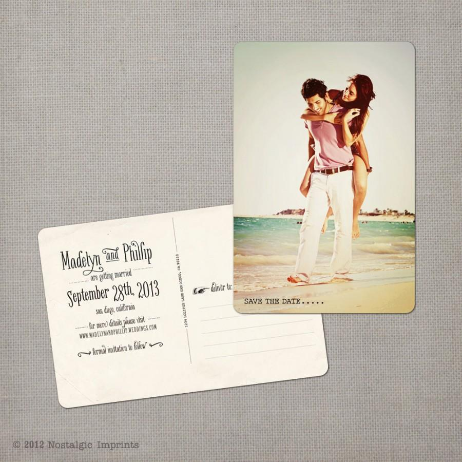 "Mariage - Save the Date Post Card, 4x6, Save the Date, the ""Madelyn 3"""