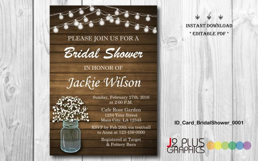 Wedding - INSTANT DOWNLOAD Bridal Shower Invitation Printable, Rustic Floral Mason Jar Bridal Shower Invitation Instant Download, Invites Editable PDF