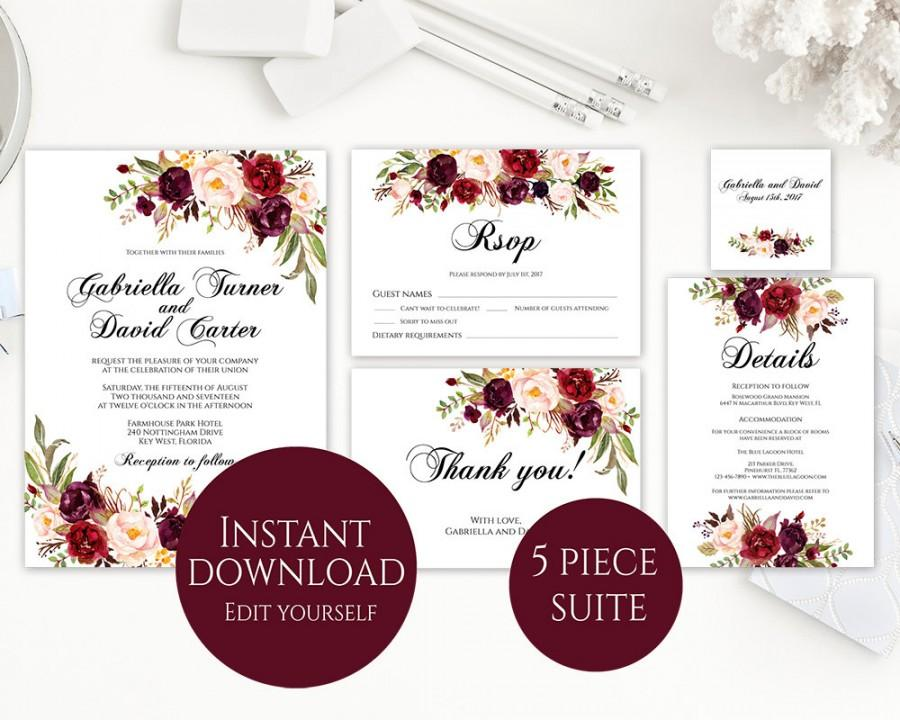 Wedding Invitation Template Invitation Suite Template Marsala - Wedding invitation templates: editable wedding invitation templates