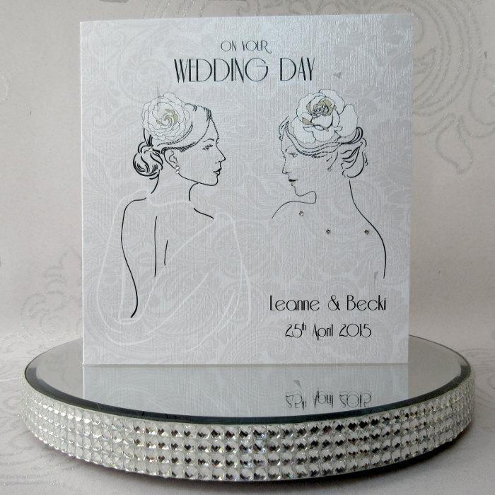 Mariage - Luxury Handmade Personalised Gay Wedding Card Lesbian Wedding Card Female Civil Partnership made with Swarovski Crystals - FREE UK DELIVERY!