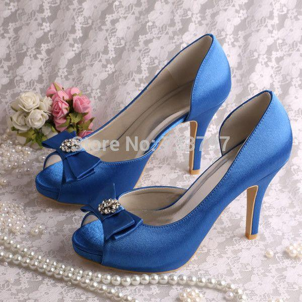 Nozze - Wedopus MW128 Latest Design Ladies Blue Platform Women's Peep Toe Bridal Wedding Shoes