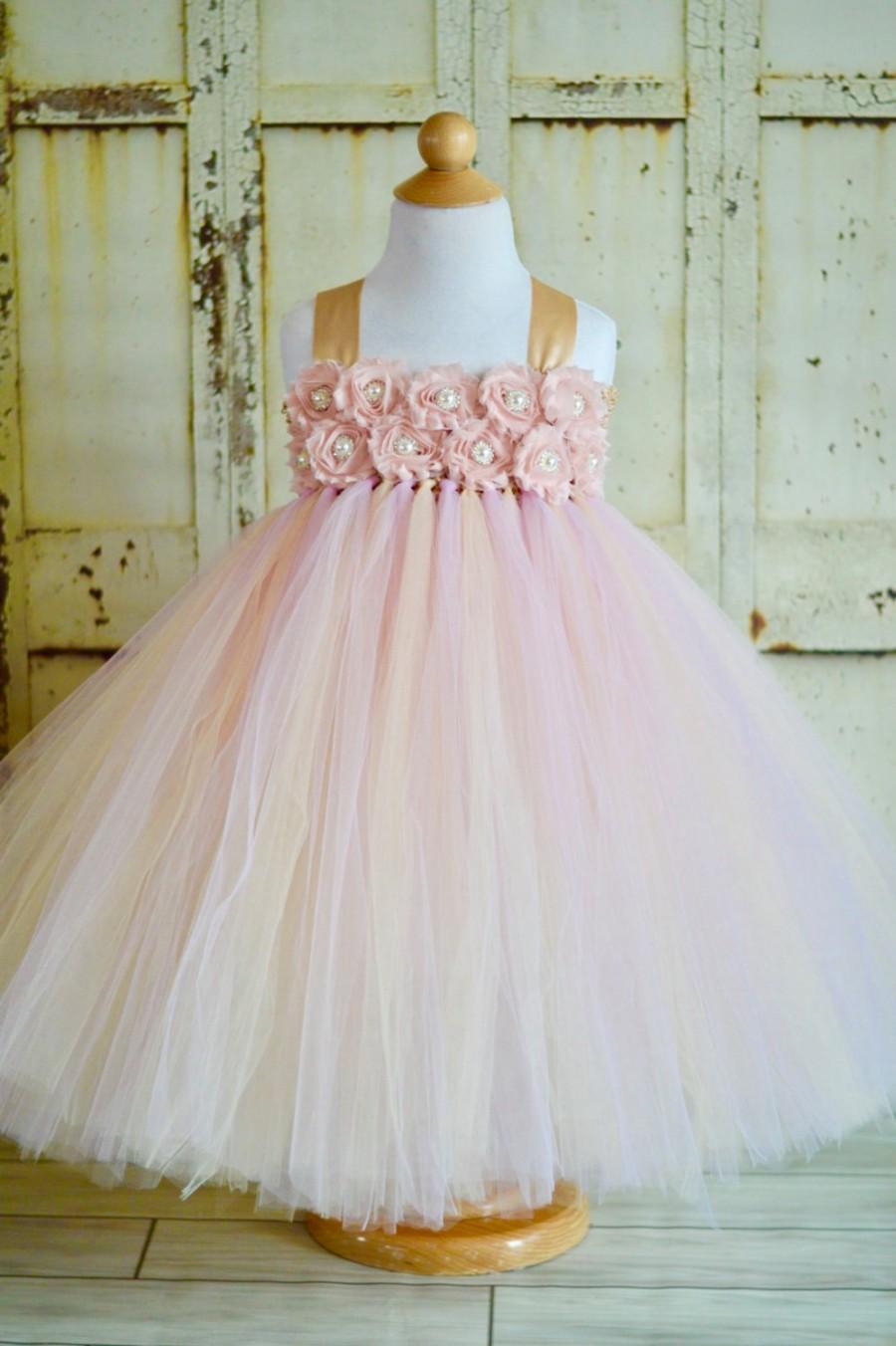 Wedding - SALE!!  many colors available-Blush shabby chic flower girl tutu dress