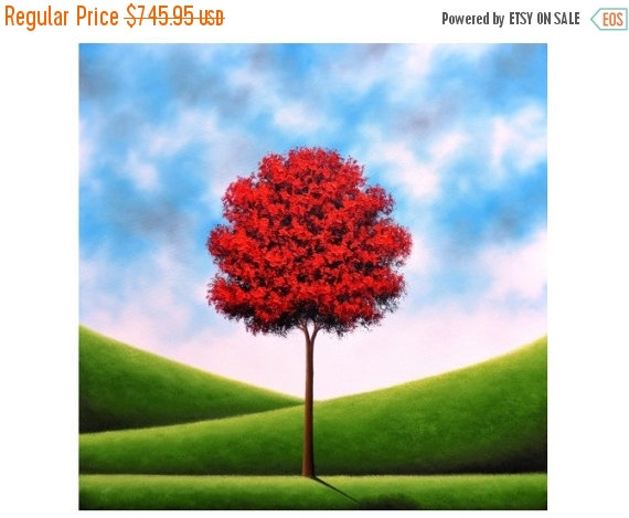 Mariage - Red Tree Oil Painting, Texture Painting, ORIGINAL Art, Canvas Art, Large Colorful Modern Landscape Painting, Huge Abstract Tree Art, 36x36