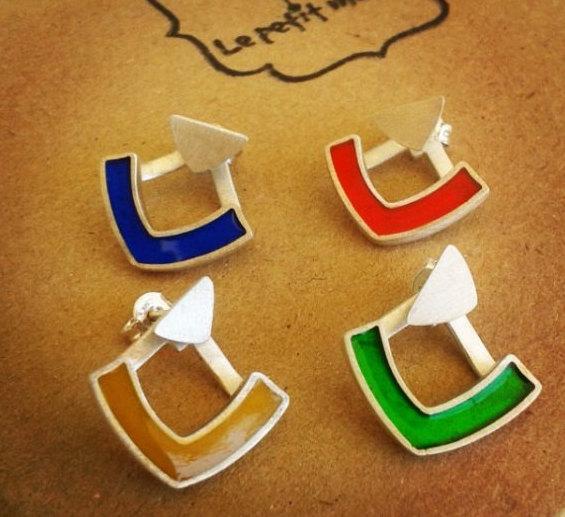 Wedding - Silver Jacket Earrings - Colorful Earrings - Resin Jewellry-Colored earrings - Colored Arrow-Geometrical Earring-Statement Earrings