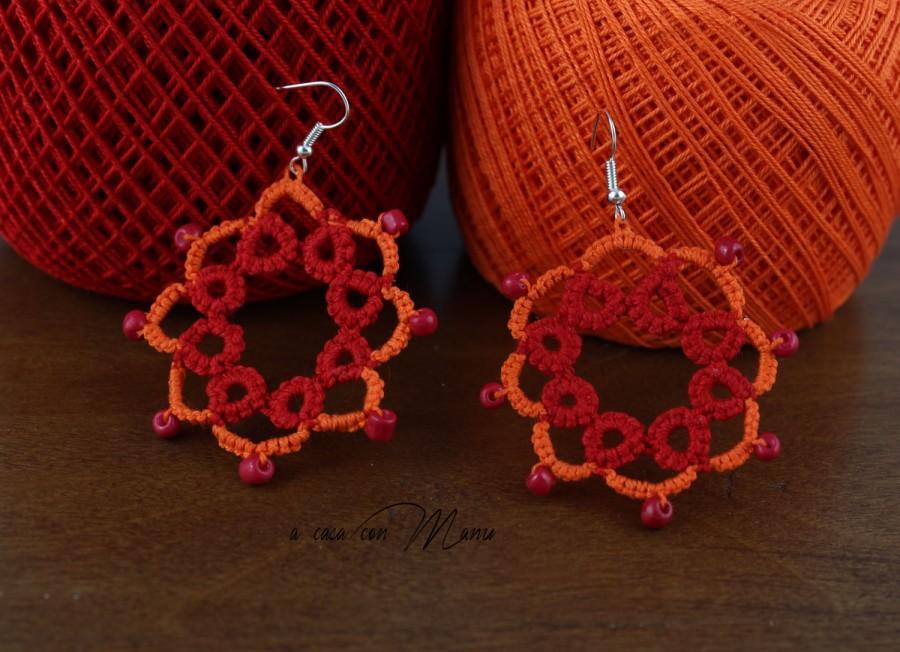 Hochzeit - Orecchini in pizzo chiacchierino, lace tatting earrings, orecchini pendenti, bijoux, red, idea regalo, per lei, handmade, made in Italy