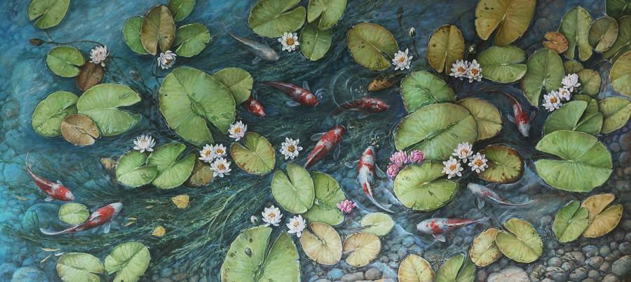 Wedding - Koi Fish, on Canvas, Landscape Oil Painting, Large Contemporary Artwork