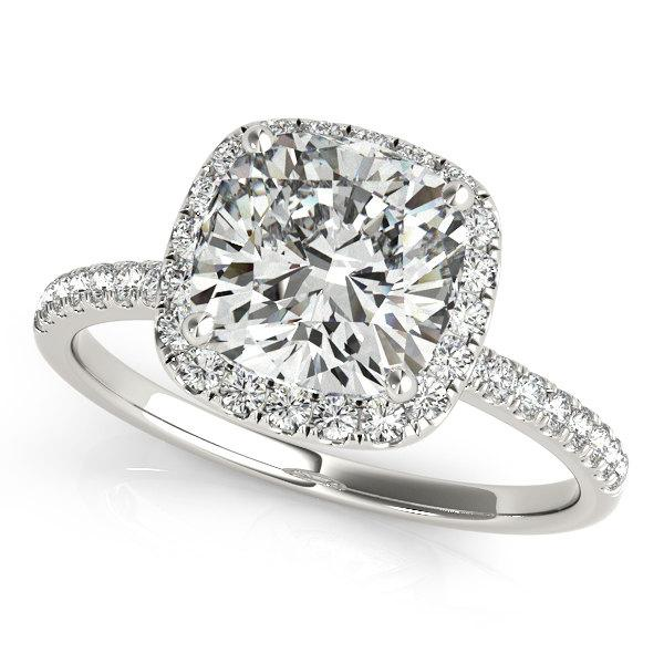 Mariage - Moissanite Engagement Ring ,Cushion Cut Engagement Ring, Cushion Forever Brilliant Moissanite Ring in 14k White gold.