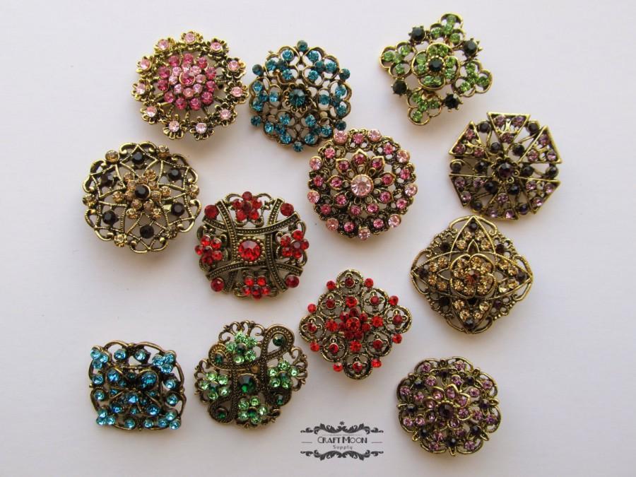 Hochzeit - 12-100 Antique Bronze Brooch Lot Rhinestone Brass Brooch Multi Color Pin Mixed Wholesale Crystal Wedding Bouquet Brooch Bridal Button DIY