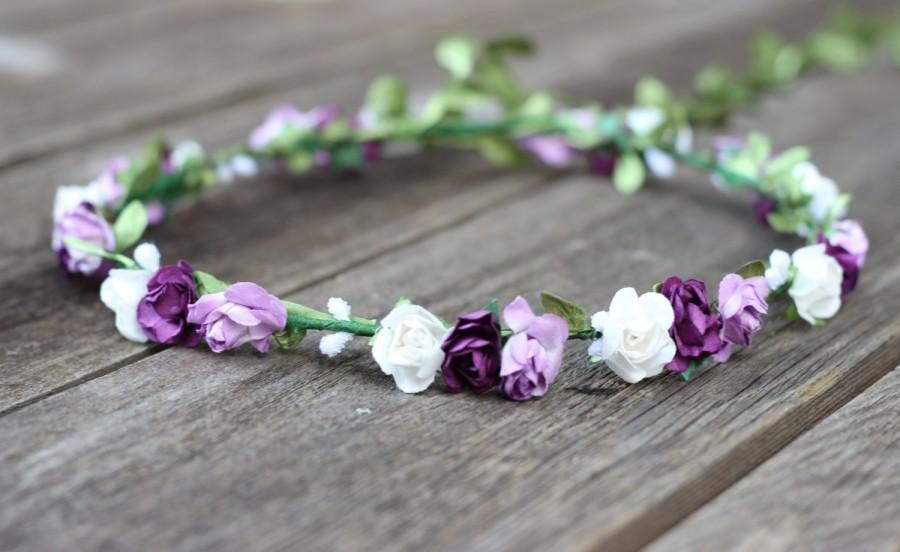 Wedding - Floral Crown Purple Flower Crown Wedding Headband Rose Head Crown Floral Headpiece Plum Purple Flower Hair Crown Purple Floral Crown Lilac