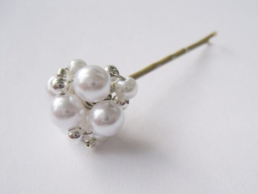 Mariage - Swarovski Pearl Bobby Pins - Set of 5 with Beaded Silver Accent - HANNAH