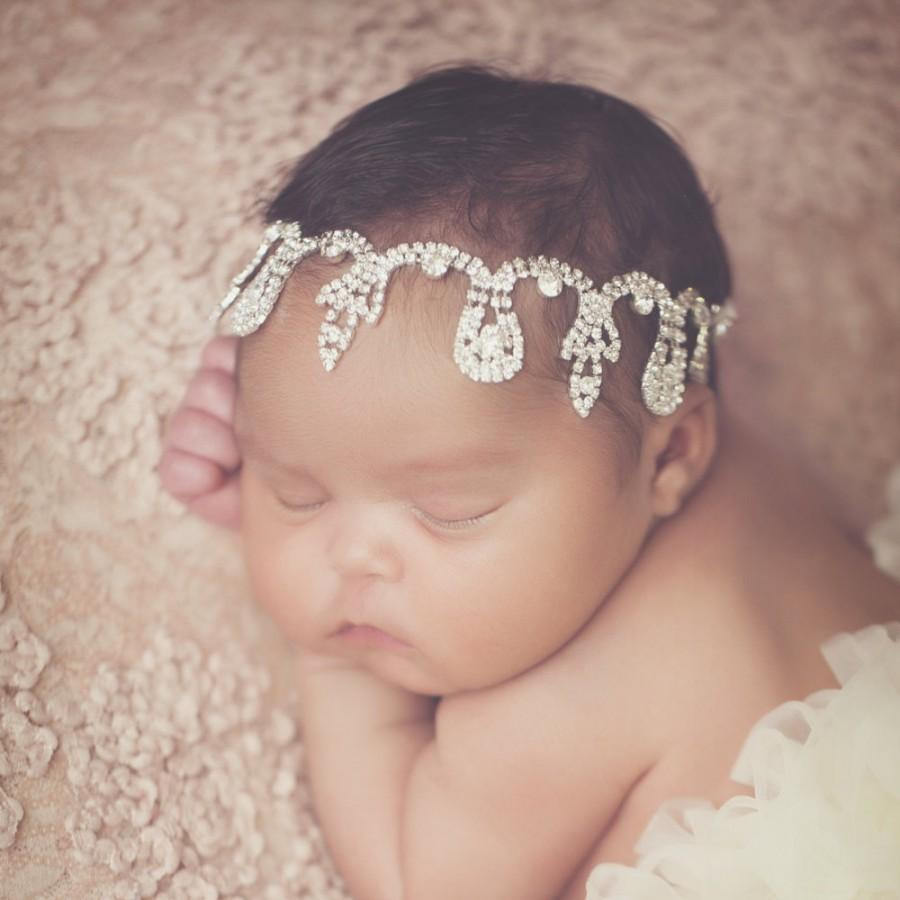 Mariage - New! Jewel headband Gorgeous Crystal Stone Headband Head Piece Newborn Photo Prop Wedding Photoshoots Newborn Headband