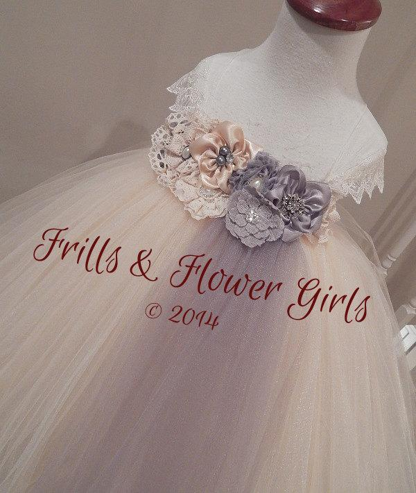 Mariage - Champagne and Grey or Silver Hand-made Shabby Flower Tutu Dress for Flower Girls Sizes 2T, 3T, 4T up to Girls size 7