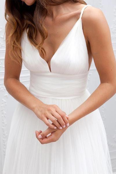 Wedding - Simple V-neck Floor-Length Wedding Dress With Ruched Sash WD054