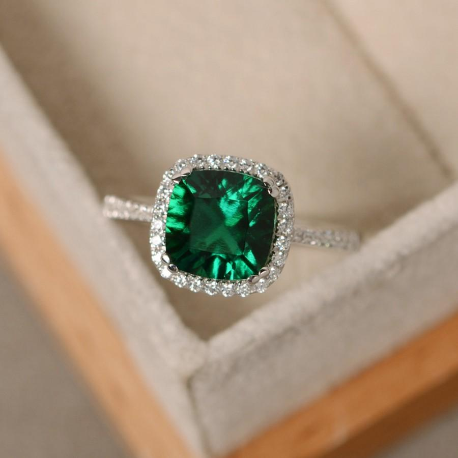 Emerald Engagement Ring Sterling Silver Cushion Cut Emerald