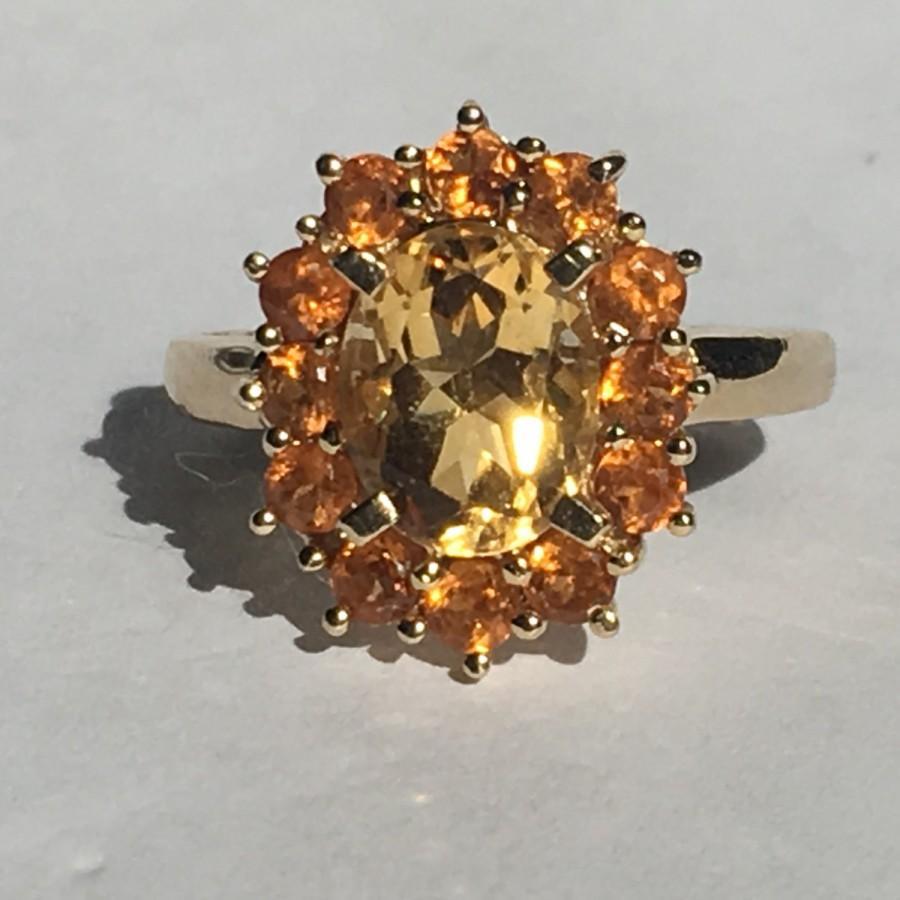 Hochzeit - Vintage Citrine Ring. 10K Yellow Gold. Citrine Cluster Ring. Unique Engagement Ring. November Birthstone. 13th Anniversary. Estate Jewelry.