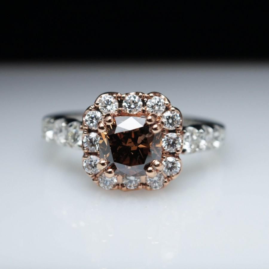 Hochzeit - 1.73ctw Brown Diamond Flower Halo Engagement Ring 14k White Gold & Rose Gold Flower Ring Diamond Engagement Ring Flower