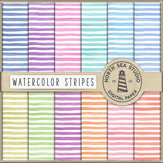 Boda - Watercolor Stripes Digital Paper, Watercolor Backgrounds, Watercolour Stripe Paper, Violet, Mint, Pink, Don't Forget Use Coupon Code!