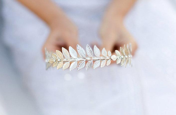 Mariage - The Triple Silver Goddess Leaf Headband, Silver Laurel Leaf, Grecian, Bridal, Special Occasion