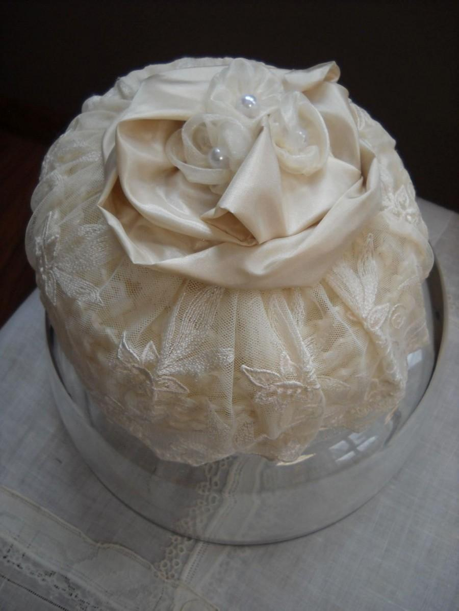 Mariage - Vintage Ivory Pillbox Bridal Hat Headpiece with Lace, Taffeta and Tulle Rosettes and Birdcage Veil for Bride, Bridal, Wedding