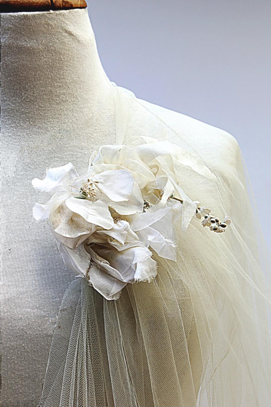 Mariage - Reserved – Floral Wedding Veil of Romantic Vintage Tulle with Unique Jeweled hair-comb & Decorations