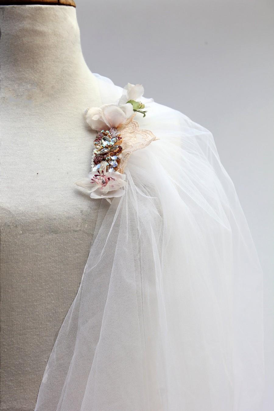 Mariage - Reserved –Unique Wedding Veil of Romantic Vintage Tulle with Unique Jeweled hair-comb & Decorations
