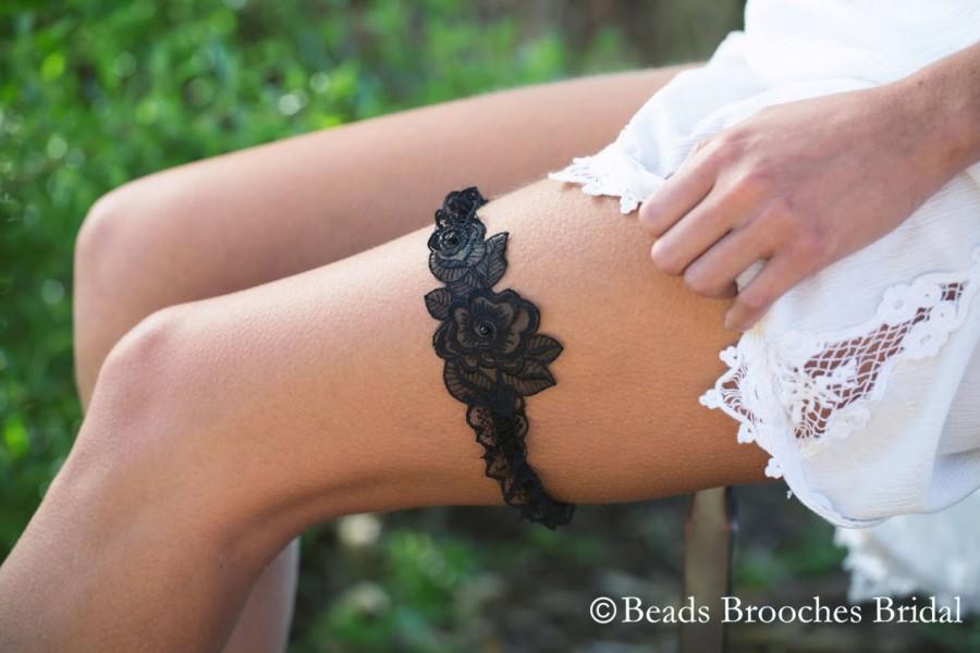 Mariage - Black Lace Garter, Black Ruffle Lace Wedding Garter, Black Organza Garter, Black Wedding Garter, Black Prom Garter, Black Toss Garter