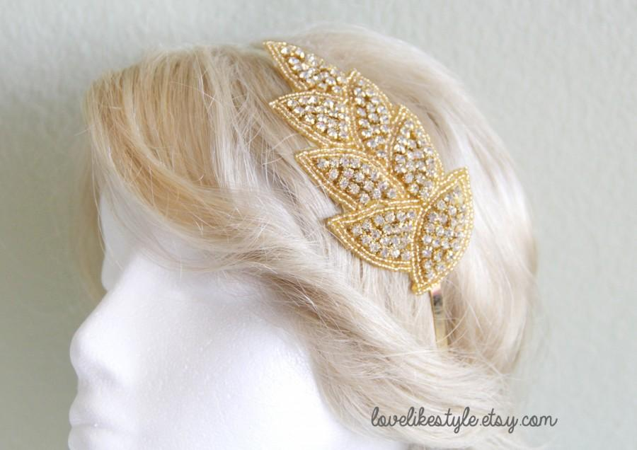 Mariage - Gold Leaf Crystal Rhinestone on Gold  Metal Headband // Bridal Headband , Rhinestone Headband , Bridesmaids Headband