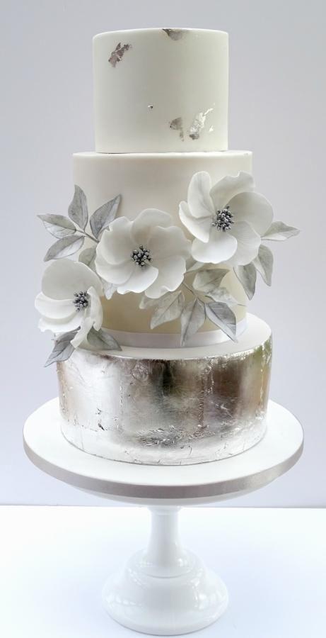 Cake - Silver White Wedding Cake #2671429 - Weddbook