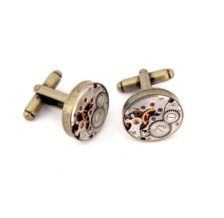 زفاف - Steampunk Watch Cufflinks, Vintage Clockwork Watch Movement Cuff Links - Antique Bronze Colour.