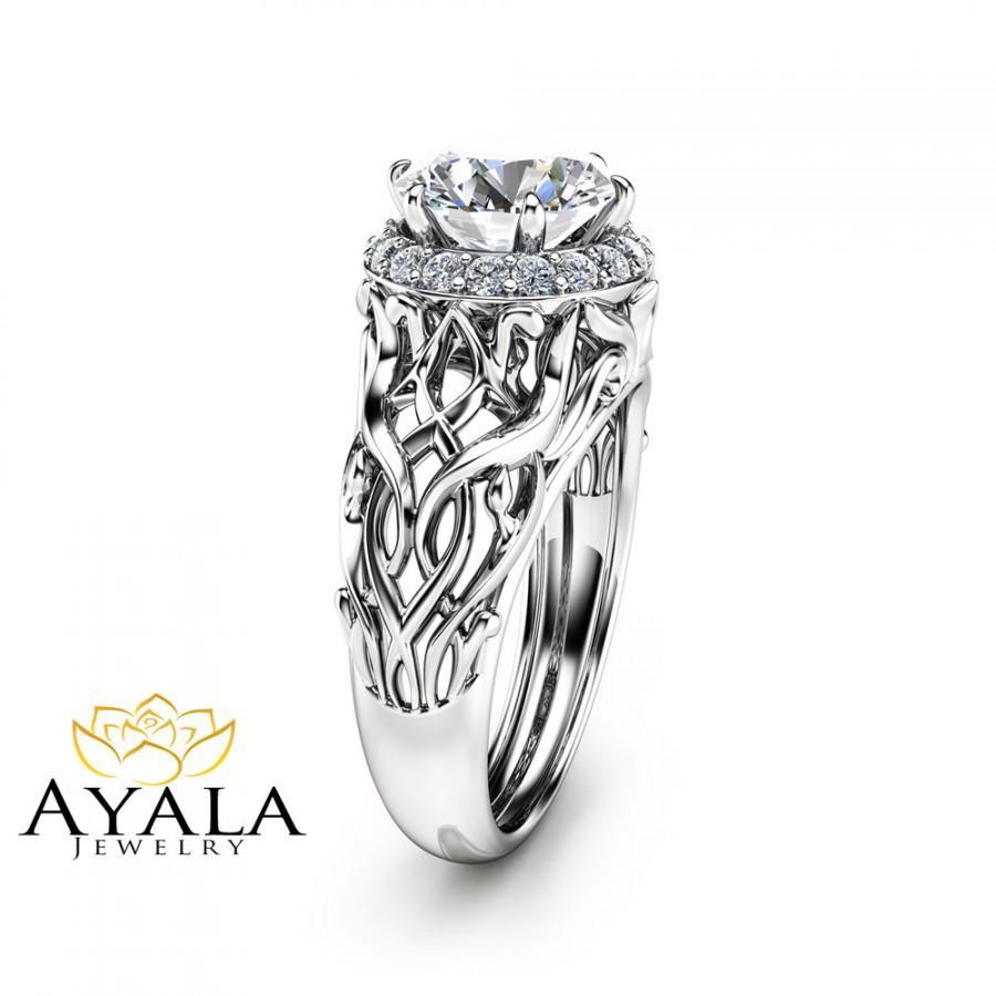زفاف - Unique Halo Engagement Ring 14K White Gold Engagement Ring 2 Carat Moissanite Halo Ring Art Deco Styled  Ring Filigree Ring