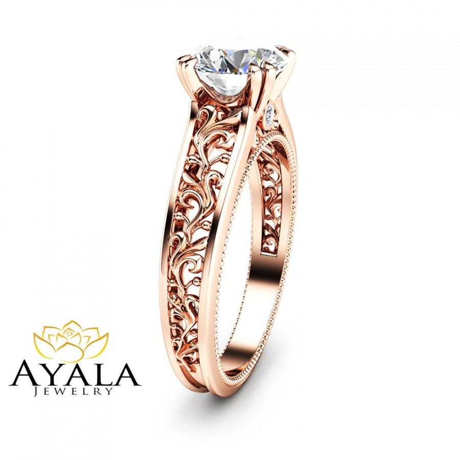 زفاف - Antique Design Engagement Ring 14K Rose Gold Moissanite Engagement Ring Rose Gold Engagement Ring