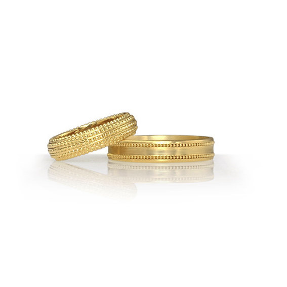 Mariage - Wedding Band Set, His and Hers 14K Gold Matching Beaded Wedding Bands Set, Handmade Wedding Ring Set, Two Rings at a Special Price.