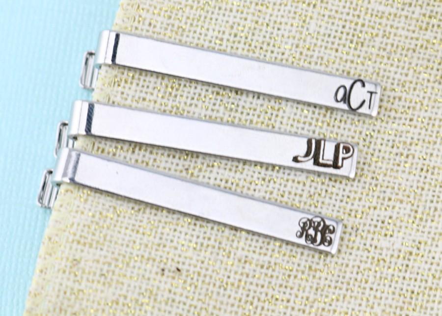 Mariage - Groomsman Tie Clip - Monogram - Groom Gift - Personalized Tie Clip
