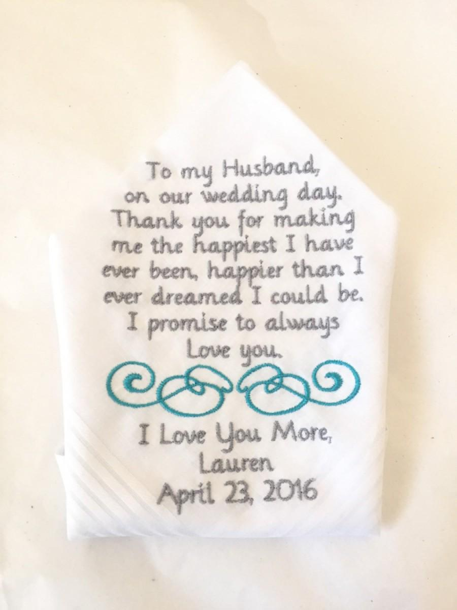 Mariage - grooms gift from bride handkerchief