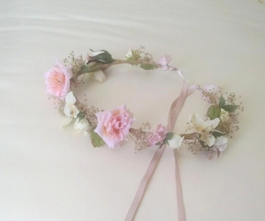 Mariage - Little girl Floral crown pink ivory Dried Flower hair wreath Rustic Chic wedding accessorie Bridal party halo baby photo prop vintage style