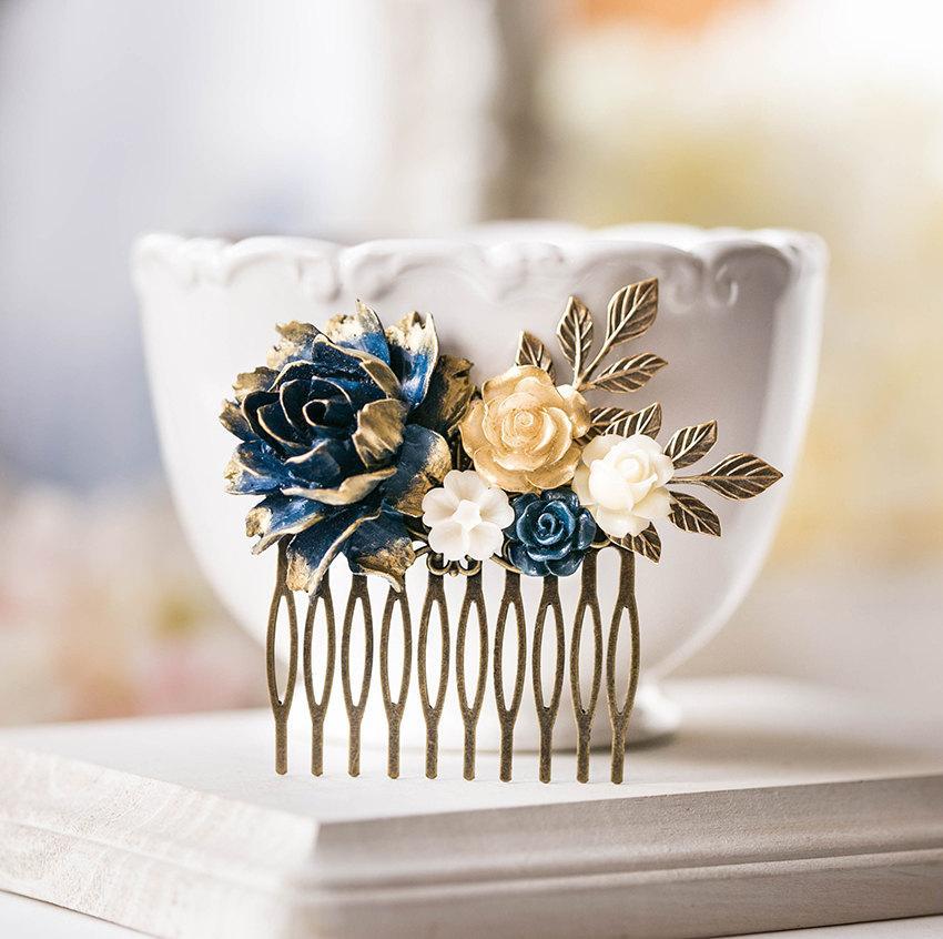 Mariage - Navy Blue Hair Comb, Navy and Gold Wedding Bridal Hair comb, Rustic Vintage Bridal Hair Piece, bridesmaid Gift, Romantic Wedding Hairpiece