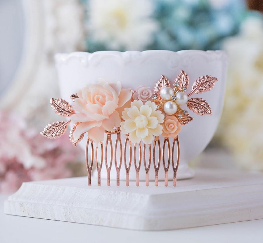 زفاف - Rose Gold Wedding Bridal Hair Comb Blush Pink Cream White Pearl Rhinestones Leaf Branch Rose Floral Comb Nudes Natural Tones Hair Piece