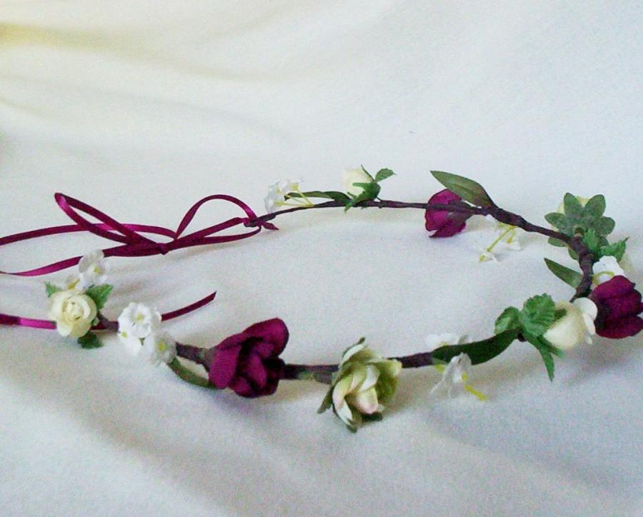 Düğün - Marsala hair wreath wine Burgundy Woodland bridal wedding accessories flower crown wedding baby headband little girl halo Rustic winter prop