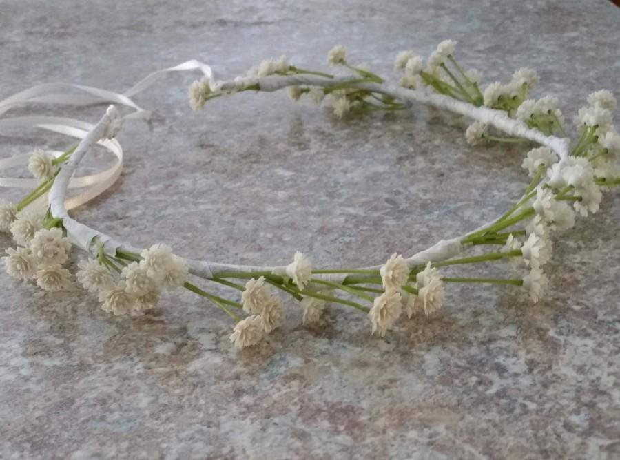 Wedding - Bridal Floral halo Silk Babys Breath cream Flower Crown Ivory Wedding hair accessories  baby flower girl headband artificial wreath