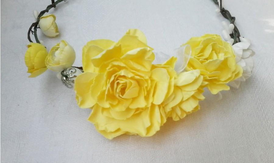 Baby Flower Crown Flower Headband Bridal Headpiece Yellow Rose