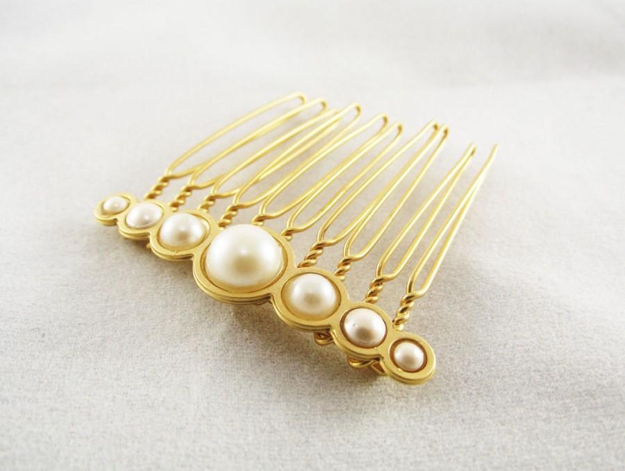 Mariage - Bride Hair comb, Gold hair comb, Wedding hair accessories, Gold hair piece, Pearl hair clip, Wedding Jewellery, Bridal Hair Accessories